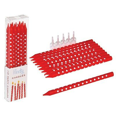 dotcomgiftshop PACK OF 10 RED SPOTTY PARTY CANDLES