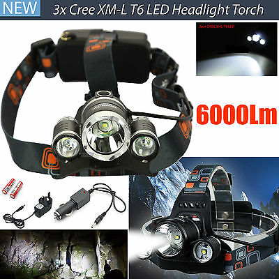Waterproof Powerful LED Headlight Torch 6000LM 3x XM-L Rechargeable T6 Headlamp
