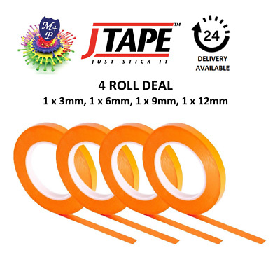 4 ROLL DEAL JTAPE  Fineline Masking Tape HiTemp 3mm,6mm,9mm,12mm x 55 Metre