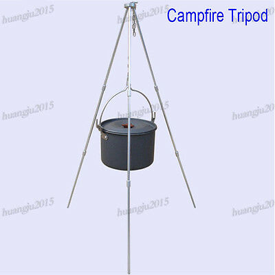 Outdoor Camping Campfire Alloy Tripod Portable Grill Cooking Picnic BBQ Hanger