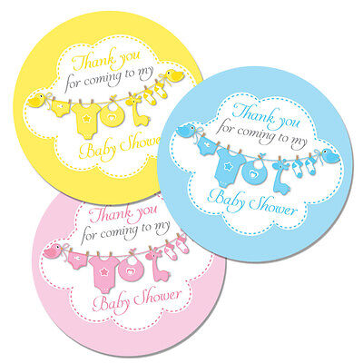 Baby shower' stickers - 60mm 'washing line', party bags, Blue, Pink or Yellow