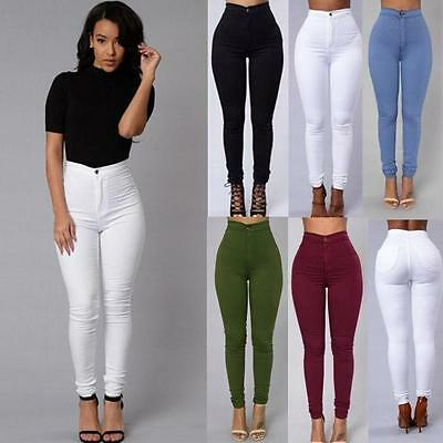 New Fashion Ladies Women High Waisted Stretchy Skinny Denim Jeans Pants Trouser
