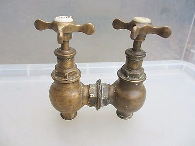 Antique Brass Taps Bath Teardrop Torpedo Architectural Vintage Globe Edwardian