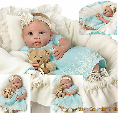 """Ashton Drake """"YOU ARE SO BEAUTIFUL"""" - LIFELIKE BABY DOLL WITH BASSINETTE  -  NEW"""