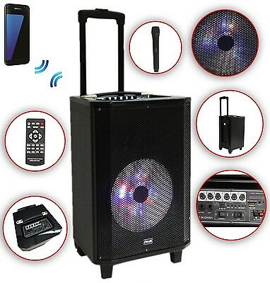 Karaoke Anlage mobile PA Lautsprecherbox Trolley G USB SD MP3 Wireless LED DMS®