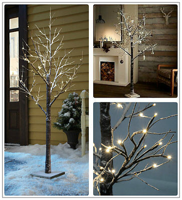 5ft LARGE PRELIT CHRISTMAS TWIG TREE LED INDOOR OUTDOOR RUSTIC SNOWY DECORATION