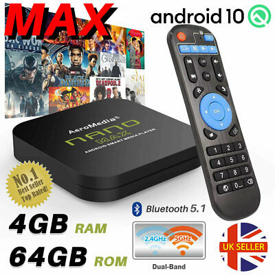2019 MAX 4GB+64GB Android TV Box 9.0 kody HD Media Player 5GHz WiFi BT HDMI UK