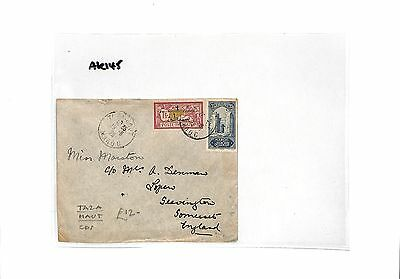 AK145 1928 French Colonies Morocco TAZA HAUT scarce origin CDS Somerset Cover