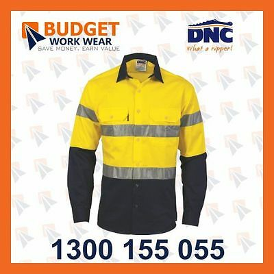 DNC HiVis D/N 2 Tone Drill Shirt with Generic R/Tape, Long Sleeve (3982)