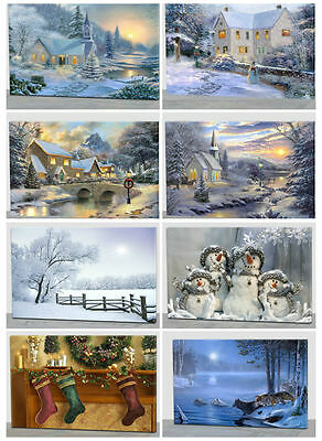 Light Up Flickering LED 60 x 40cm Christmas Decoration Canvas Wall Art Picture