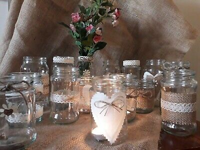 Wedding centrepieces 12 Decorated candle/Flower Jars Rustic/Vintage Style