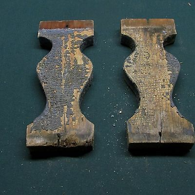 2 Antique Victorian Hourglass Gingerbread Porch Balusters,Old Chippy Paint