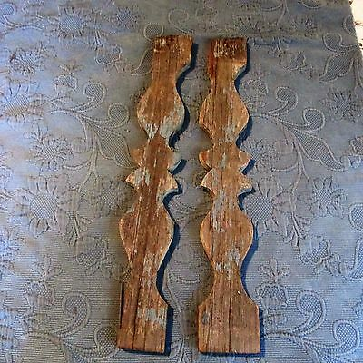 2 Antique Victorian Fancy Cut-Out Gingerbread Porch Balusters, Old Chippy Paint