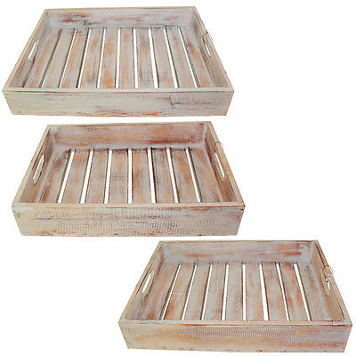NEW 1pce Hand Made, White Wash, Wooden, Carry Tray with Slats, Beach House