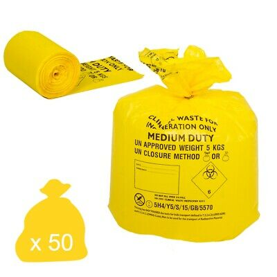 Yellow Clinical Waste Disposal Bags - Medium Duty 30 Litre Sacks (Roll of 50)