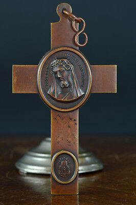 Exceptional large bronze antique religious pectoral cross nun brother 19thc