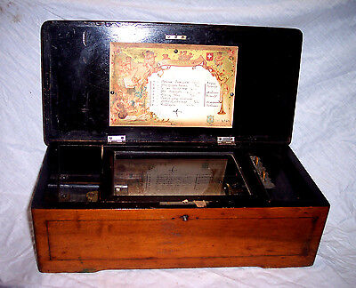 Antique Music Cylinder Music Box For Parts