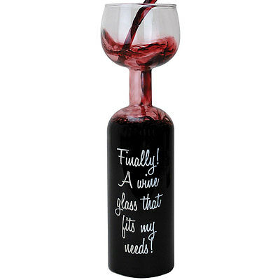 """NEW Hilarious Wine Lovers Glass 750 Ml Capacity No Need To Refill 11.5"""" Tall"""