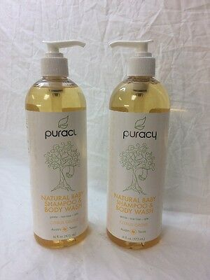 Puracy Natural Baby Shampoo & Body Wash Citrus Grove 16oz Pack Of 2 New 077