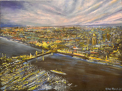 London Night Skyline- Signed Limited Edition print of Acrylic Landscape Painting