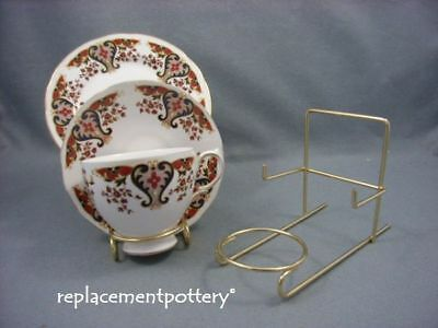 Brass Finish Cup, Saucer & Plate / Trio Display Stand