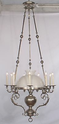 Antique 10 Light French Victorian Chandelier w/ Student Shade circa 1900's