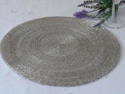 Sets 2,4,6 or 8 Silver Beaded Round Place Mats Table Setting Christmas Wedding