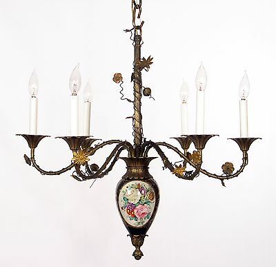 Antique French 6 Light Chandelier w/ Hand Painted Cobalt Porcelain Base 1920's