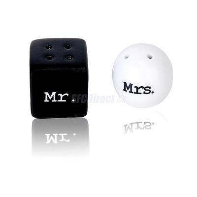 Boxed Round Cube Ceramic Mr. Mrs. Salt Pepper Shakers Wedding Shower Party Favor