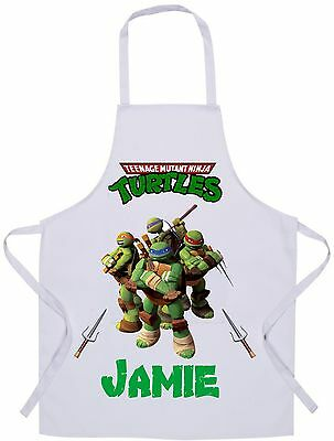 Personalised Kids Mutant Ninja Turtles Apron - Baking/Cooking - 60x42cm