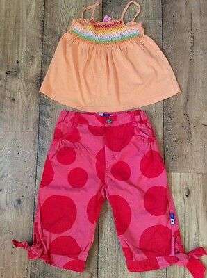 Pink & Red Spot Designer Cropped Trousers & Smocked Top 2 Yrs