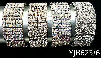 NEW YJB623 WEDDING PAGEANT Silver Gold 6 row Rhinestone Stretch Bangle Bracelet