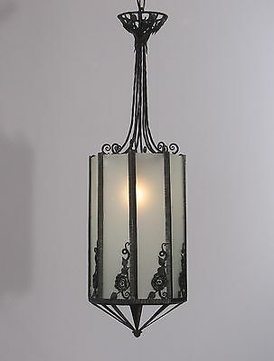 Antique French Art Deco Wrought Iron Lantern Black with Frosted Glass (1920's)