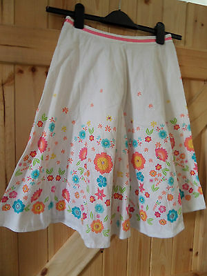 Very Pretty Girls Flower Power Skirt Age 10 / 11 Years White Colourful Flowers