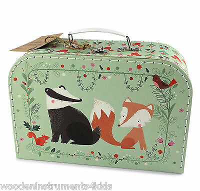 childrens carry case toy case small suitcase for kids owl fox badger design