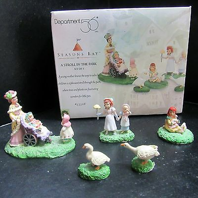 Dept. 56 Seasons Bay A Stroll in the Park Set of 5 #53308 Hand Painted 1998