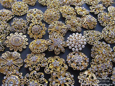 100 Gold Brooch Lot Mixed Pin Rhinestone Pearl Wholesale Wedding Bouquet Vintage