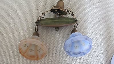Vintage Blue Brown Frost Light Shade Double Ceiling Light Excellent