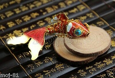 Articulated Cloisonne Enamel CHINESE Gold Fish Figurine Ornament Gift - Red