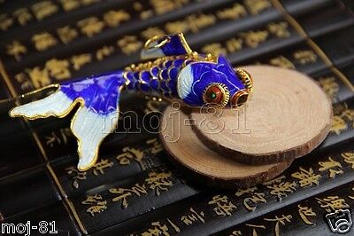 Articulated Cloisonne Enamel CHINESE Gold Fish Figurine Ornament Gift - Blue