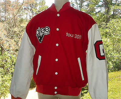 Glee Musical 2007 Tour  Wool & Leather Varsity Letterman Jacket Red Mens Small