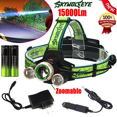 15000Lm 3 x CREE XM-L T6 LED Headlamp ZOOM Headlight Rechargeable Torch Lamp UK