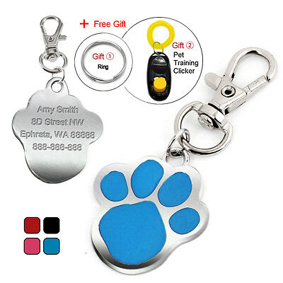 Cute Paw Print Custom Dog Tags Personalised Cat Dog Collar Tag Engraved for Free