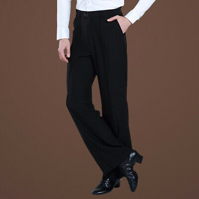 Mens Dance Pants Ballroom Latin Black Trousers Rumba Show Professional Dancewear
