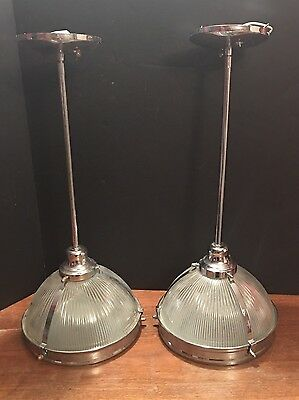 """Two Matched Industrial Pendant Lights 21.5"""" Long"""
