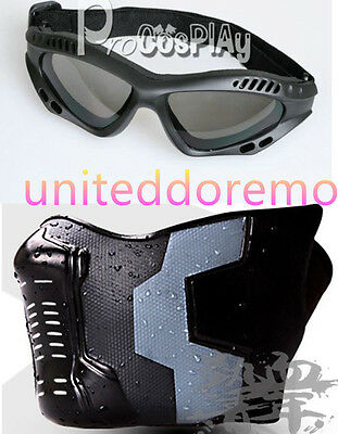 Captain America The Winter Soldier Mask+Goggles Rubber Face Mask Cosplay Props