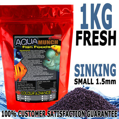 AQUAmunch Colour Advance Aquarium Cichlid Fish Food Pellet Small 1.5mm Sink 1KG