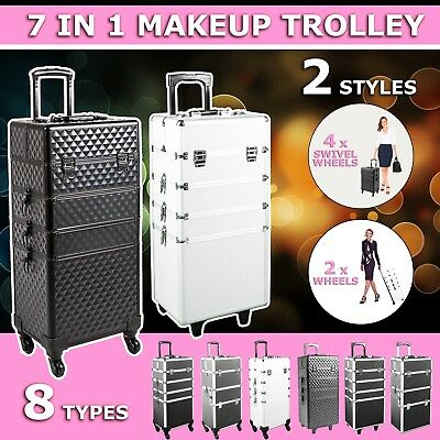 7in1 Portable Cosmetics Beauty Makeup Case Organiser Storage Carry Bag Trolley