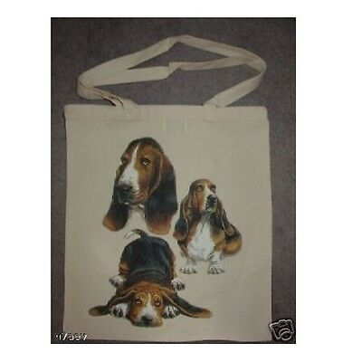 3 Basset Hound Dogs On A Tote Shopping Bag 100% Cotton