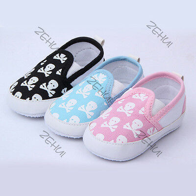 Infant Baby Boy Girl Shoes Kid Toddler Skull Soft Sole Anti-Slip Shoes Prewalker